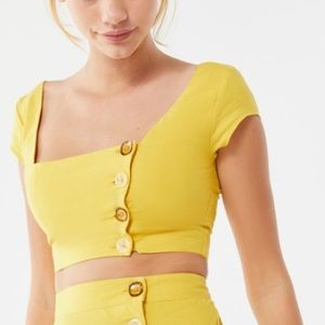 Urban Outfitters Lily Linen Button Front Crop Top